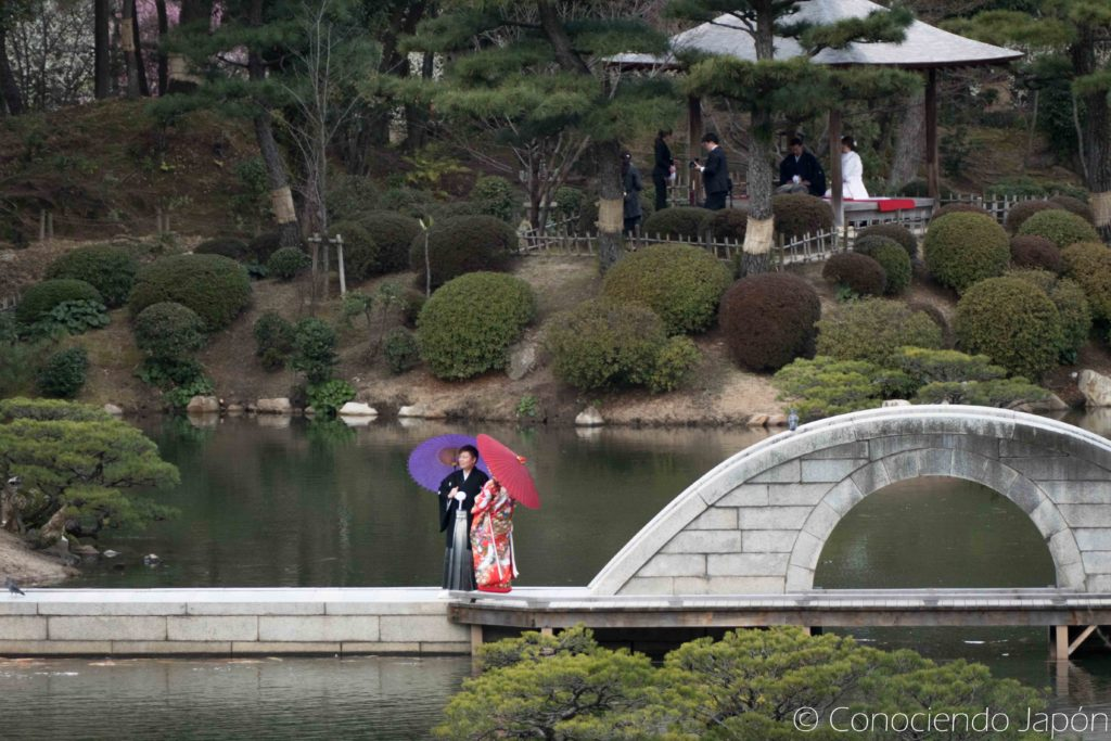 Parejas en el Jardín Shukkei-en